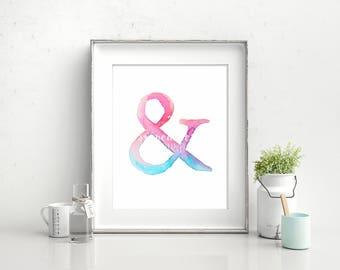 Pink Ampersand - Watercolor Print