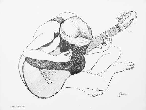 German Hevia Woman Playing Guitar Vintage Print 1972 Cuba Puerto Rico Art
