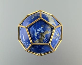 Lapis Lazuli Sphere in Gold Filled Dodacahedron