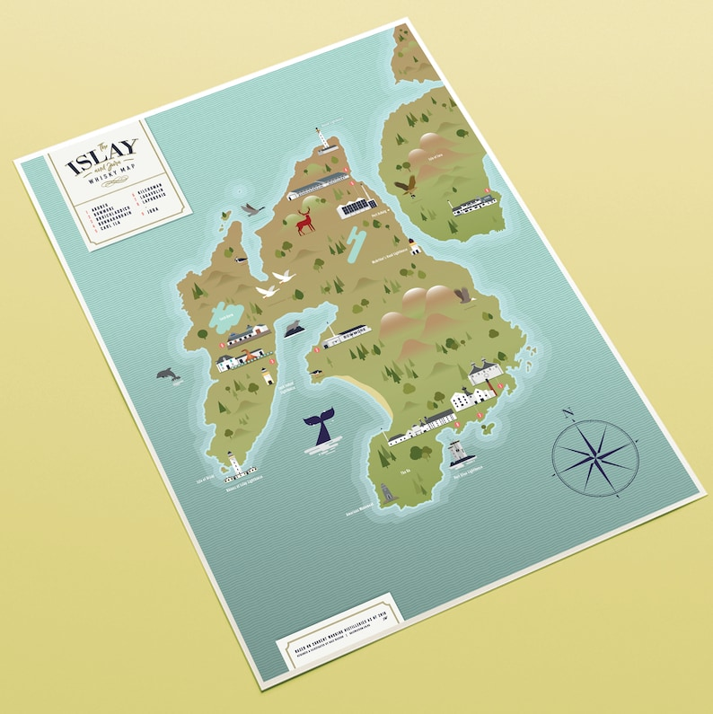 Islay Scotland Map.The Islay And Jura Whisky Map A3 Print Etsy