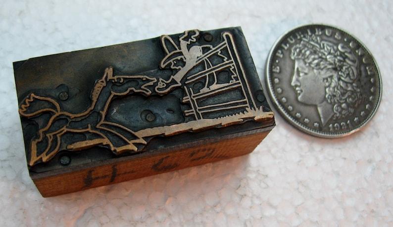 Cowboy On A Horse Letterpress Printing Block All Metal Vintage