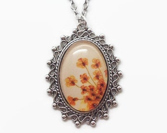 flower necklace, bridesmaid gift, real flower jewelry, nature necklace, orange flower pendant, gift ideas for her, orange cameo necklace