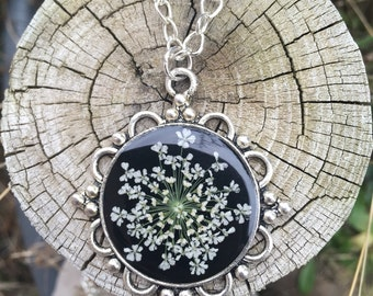 Jewelry nature, flower necklace, gifts for women, unique jewelry, Silver flower necklace, real flower jewelry, flower resin jewelry, for her