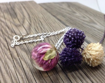 Dried flower necklace, Nature jewelry, resin flower jewelry, resin orb necklace, real flower jewelry, resin jewelry, resin sphere pendant