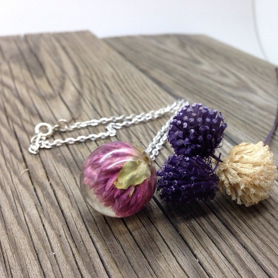 Items Similar To Dried Flower Necklace Nature Jewelry