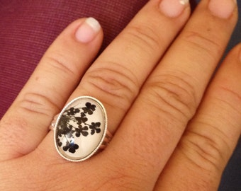 Pressed flower ring  - black flowers - cute ring adjustable silver plated with natural pressed flowers and glass cabochon,