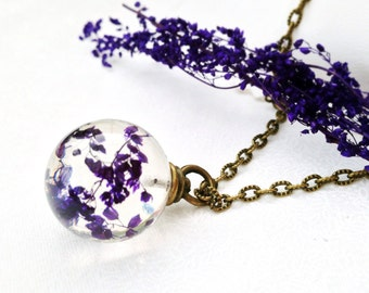 dry flower necklace - nature jewelry - purple necklace - resin orb - resin jewelry - real flower jewelry  bridesmaid gift - maid of honor