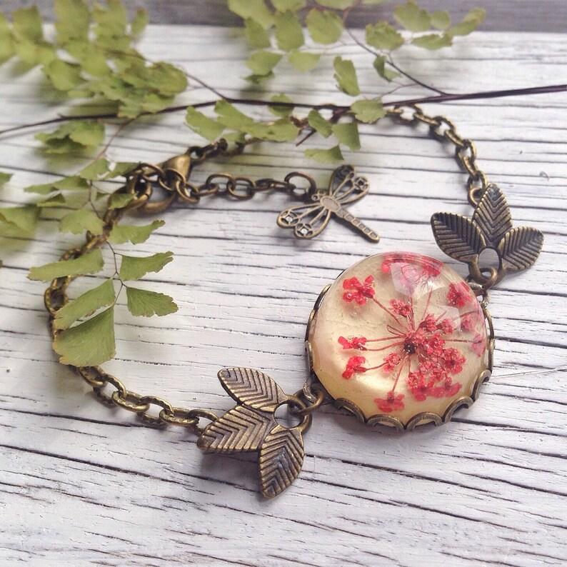 Unique jewelry flower bracelet red bracelet drangonfly resin jewelry bronze jewelry gifts for girlfriend Flower bracelet cool gift
