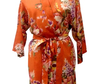 82a84bdc89fc Orange Bridesmaids robes floral