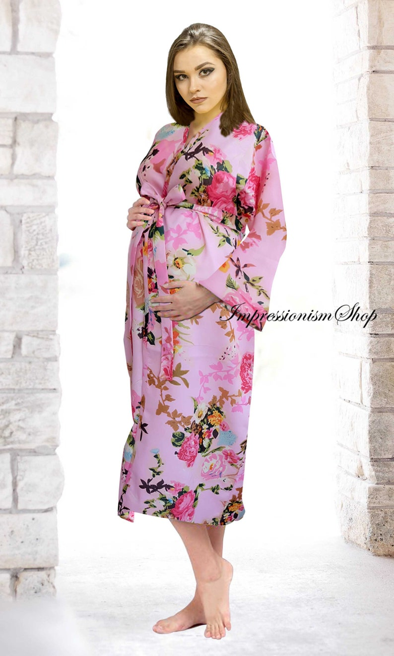 20ba3b20021fb Kimono Robe Long Pregnancy Gowns Laobor and Delivery robe   Etsy