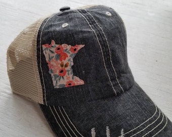 9c57af898d7c56 Minnesota Hat | Minnesota Trucker Hat | Minnesota Distressed Hat |  Distressed Minnesota Trucker Hat | black hat w/ gray mesh | Floral