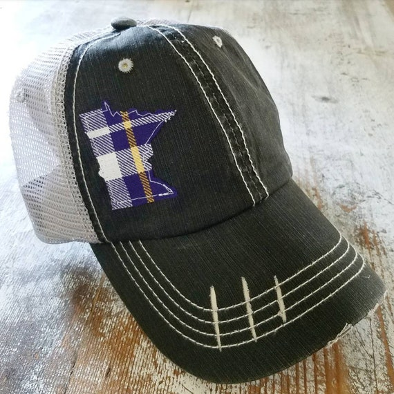 Minnesota Vikings Inspired | Minnesota Hat | Minnesota Trucker Hat | State Hat | Distressed Minnesota Trucker Hat | Purple and Gold Plaid |