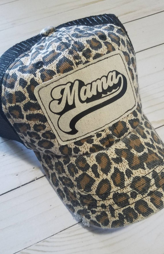 Mama Hat | Mama Trucker Hat |Leopard Trucker Hat | Inspirational Hat | Baseball Hat | Distressed Trucker Hat| Gift | Birthday Gift | Mom