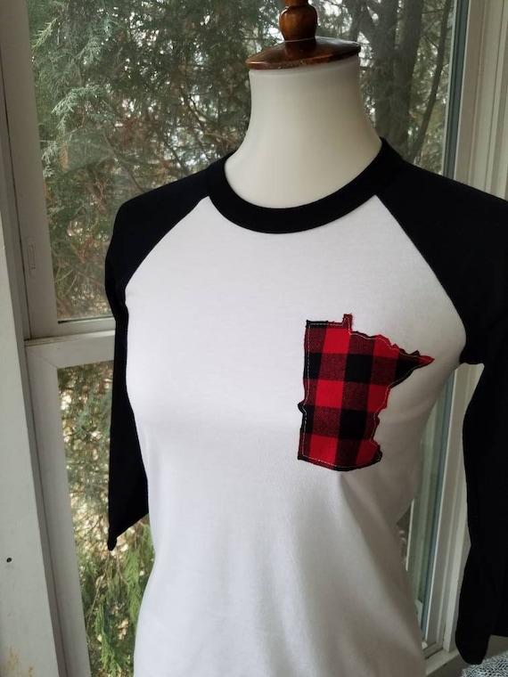Minnesota Raglan Shirt | MN Shirt | Minnesota Baseball Shirt | Minnesota Shirt | MN Shirt | Buffalo Plaid Shirt | Buffalo Plaid