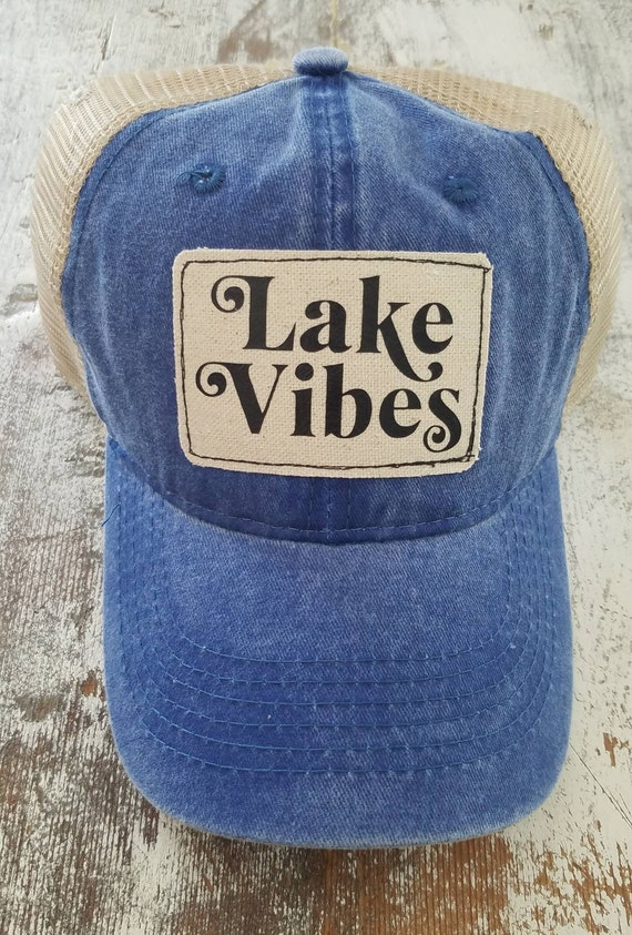 Lake Vibes Hat | Lake Vibes Trucker Hat |Trucker Hat | Inspirational Hat | Hat | Distressed Trucker Hat | Gift | Lake Life | Cute Hat
