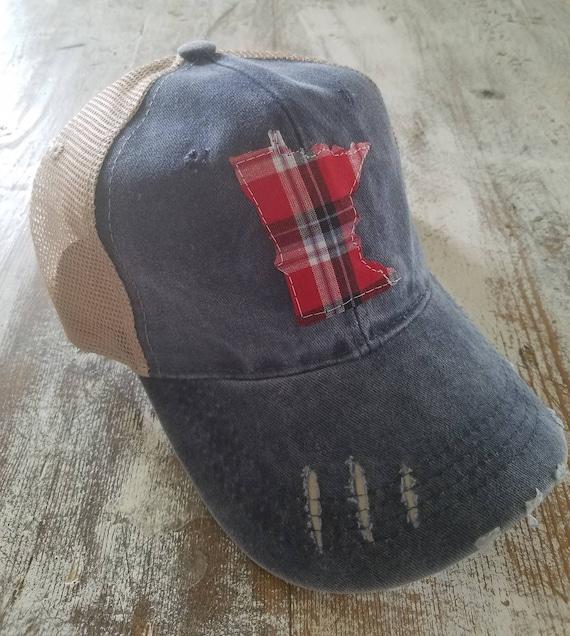 Minnesota Hat   State Trucker Hat   Minnesota Distressed Hat   Distressed Minnesota Trucker Hat   blue hat w/ khaki mesh   Plaid   State