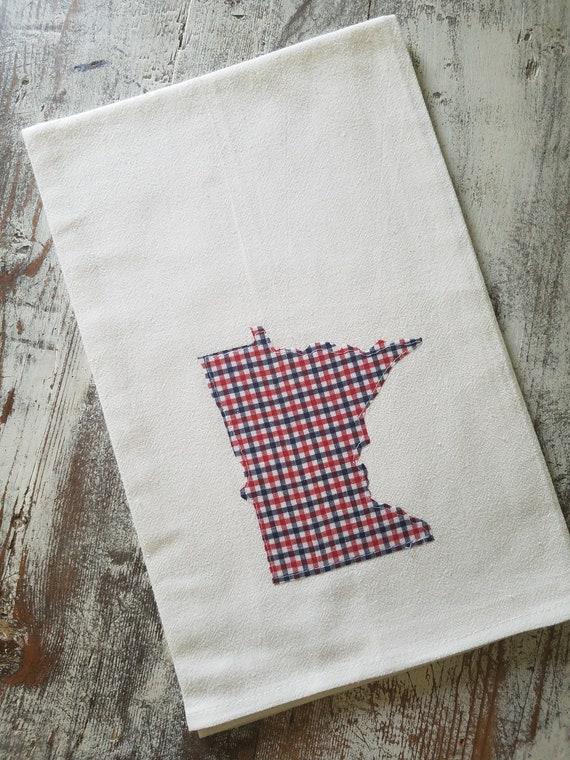 State Flour Sack Towel | Minnesota Dish Towel | Minnesota Flour Sack Towel | Housewarming Gift | State Pride Dish Towel | Buffalo Plaid