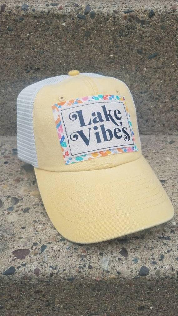 Lake Vibes Hat | Lake Vibes Trucker Hat |Trucker Hat | Inspirational Hat | Hat | Distressed Trucker Hat | Gift | Lake Life | Cute Hat