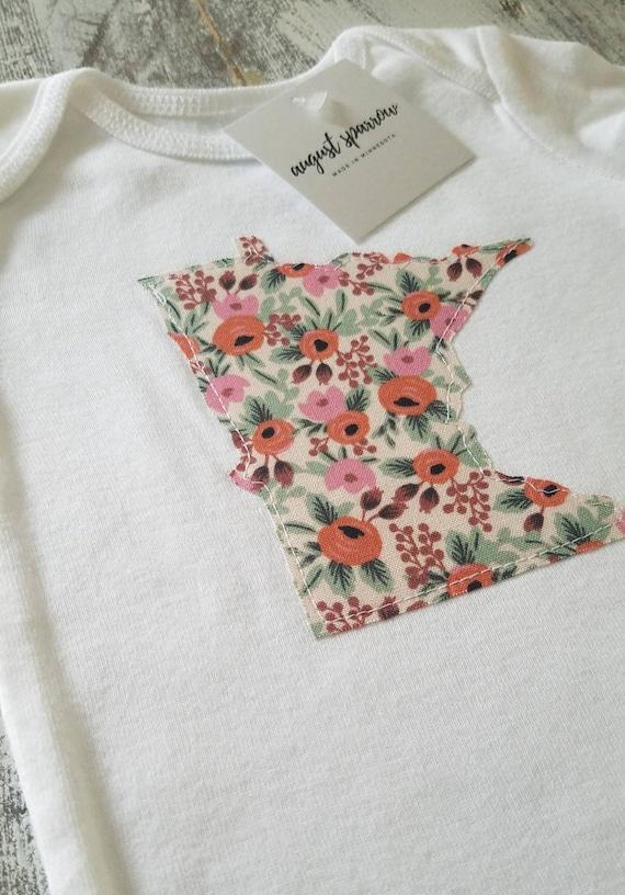 Minnesota Bodysuit | State Bodysuit | Minnesota Baby | Made in Minnesota | Bodysuit | Minnesota Love | Floral Baby | Floral Baby Bodysuit