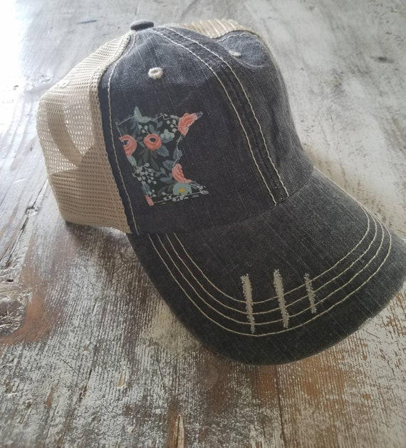 Minnesota Hat | Minnesota Trucker Hat | Minnesota Distressed Hat | Distressed Minnesota Trucker Hat | black hat w/ khaki mesh | plaid