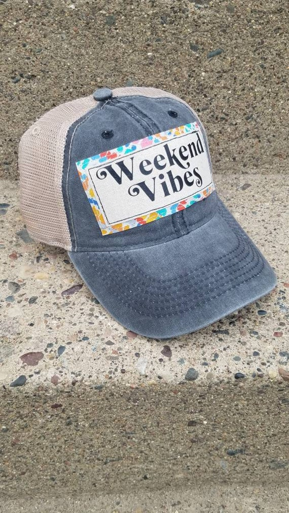 Weekend Vibes Hat | Weekend Trucker Hat |Trucker Hat | Inspirational Hat | Hat | Distressed Trucker Hat | Gift | Cute Hat