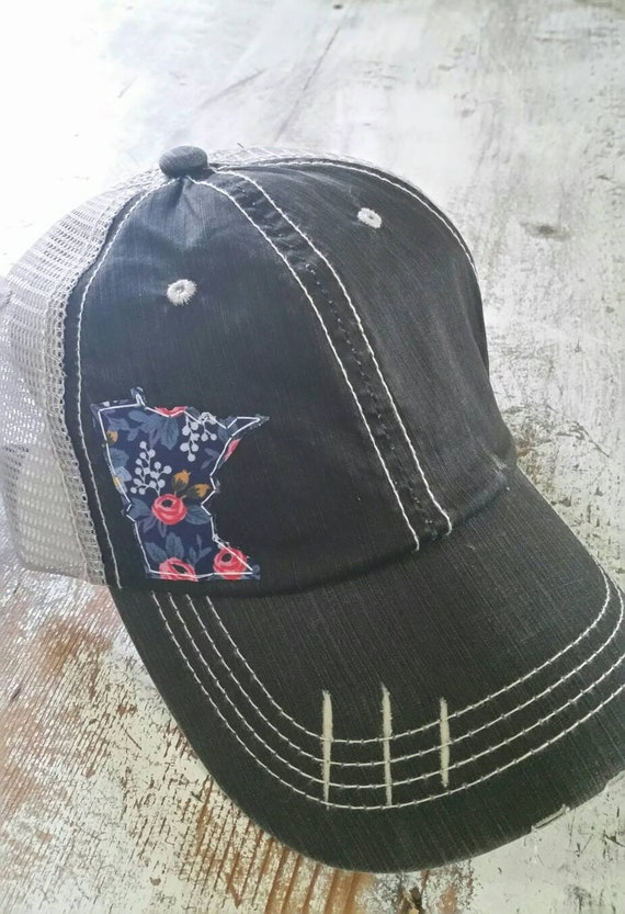 Minnesota Hat | Minnesota Trucker Hat | Minnesota Distressed Hat | Distressed Minnesota Trucker Hat | black hat w/ gray mesh | Floral