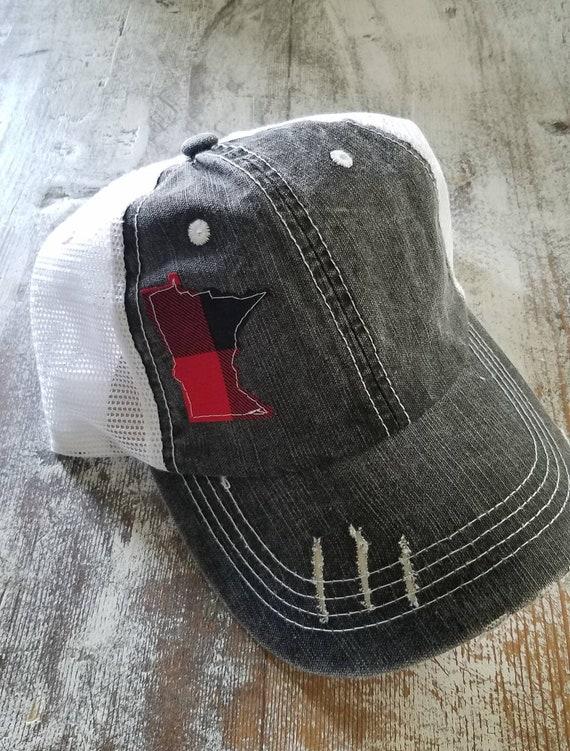 Minnesota Hat | Minnesota Trucker Hat | Minnesota Distressed Hat | Distressed Minnesota Trucker Hat | black hat w/ white mesh | plaid