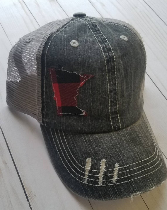 Minnesota Hat | Minnesota Trucker Hat | State Hat | Distressed Minnesota Trucker Hat | Buffalo Plaid | Red and Black Buffalo Plaid | Cabin