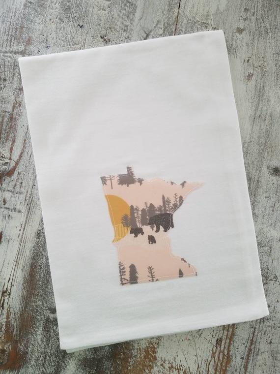 State Flour Sack Towel | Minnesota Dish Towel | Minnesota Flour Sack Towel | Housewarming Gift | State Pride Dish Towel | Gift Set | Bears