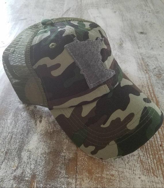 Minnesota Hat   State Trucker Hat   Minnesota Distressed Hat   Distressed Minnesota Trucker Hat   camouflage hat w/ green mesh   State  