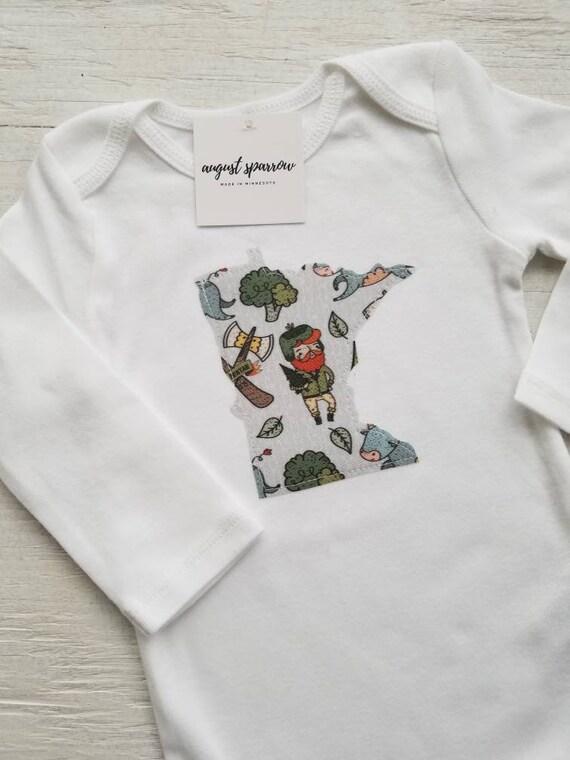 Minnesota Bodysuit | State Bodysuit | Minnesota Baby | Made in Minnesota | Baby  Bodysuit | Minnesota Love | Long Sleeve | Paul Bunyan /Babe