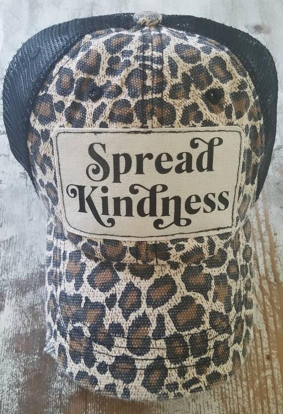 Spread Kindness Hat | Baseball Hat |Trucker Hat | Inspirational Hat | Hat | Distressed Trucker Hat | Gift | Cute Hat | Leopard Hat | Be Kind