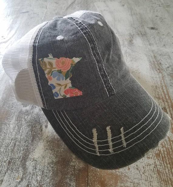 Minnesota Hat   Minnesota Trucker Hat   Minnesota Distressed Hat   Distressed Minnesota Trucker Hat   black hat w/ white mesh   floral