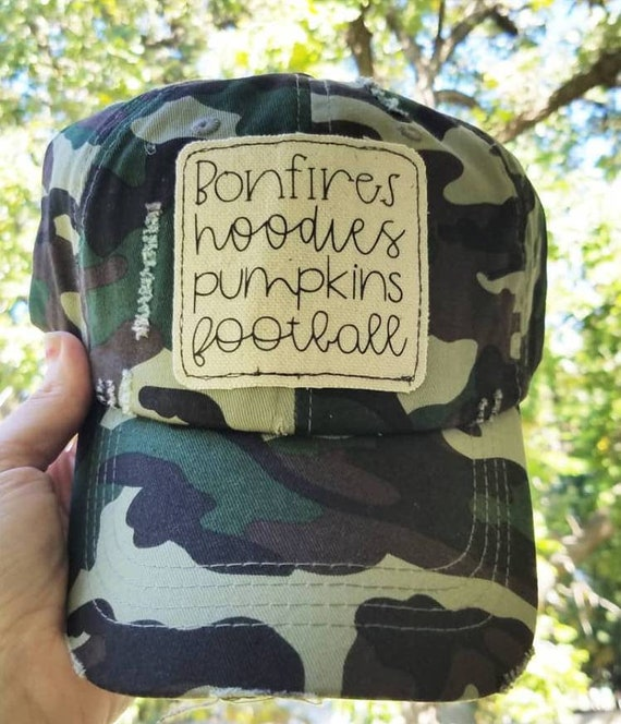 Fall Hat | Bonfires Hoodies Pumpkins Football |Camo Hat | Inspirational Hat | Autumn Hat Baseball Hat | Distressed Hat| Gift | I Love Fall