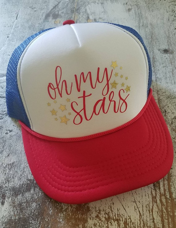 4th of July Hat | Fourth of July Trucker Hat | Red, White and Blue Trucker Hat | USA Hat | Gift | Oh My Stars | Stars and Stripes