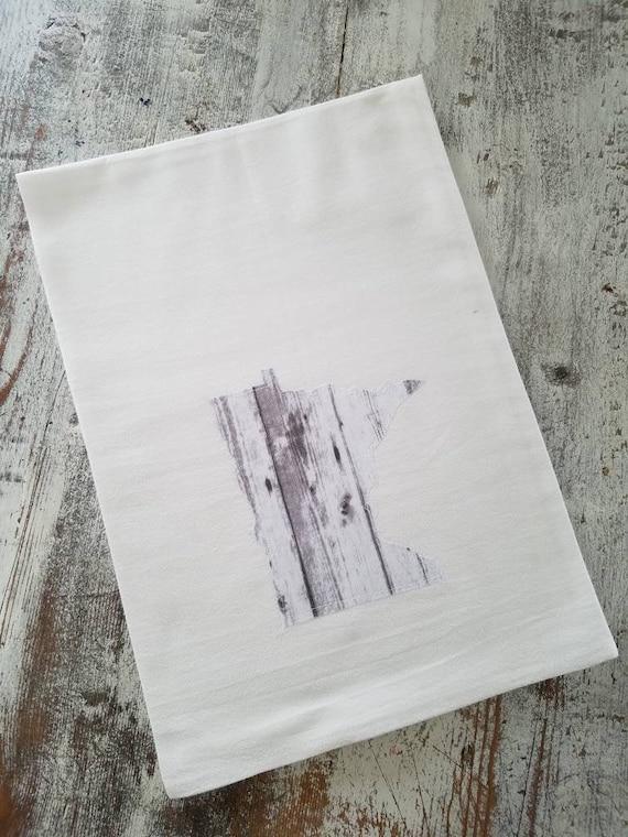State Flour Sack Towel | Minnesota Dish Towel | Minnesota Flour Sack Towel | Housewarming Gift | State Pride Dish Towel | Wood | Gift Set