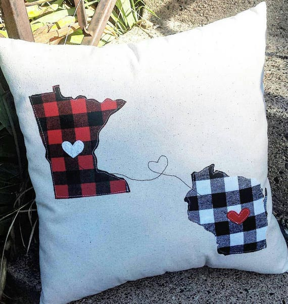 Two State Pillow | State Pride Pillow | Two States Love Pillow | Long Distance Pillow | Friends Forever Pillow