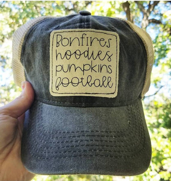 Fall Hat | Bonfires Hoodies Pumpkins Football | Hat | Inspirational Hat | Autumn Hat Baseball Hat | Distressed Hat| Gift | I Love Fall