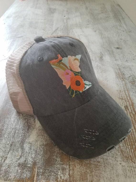 Minnesota Hat   State Trucker Hat   Minnesota Distressed Hat   Distressed Minnesota Trucker Hat   gray hat w/ khaki mesh   Floral   State