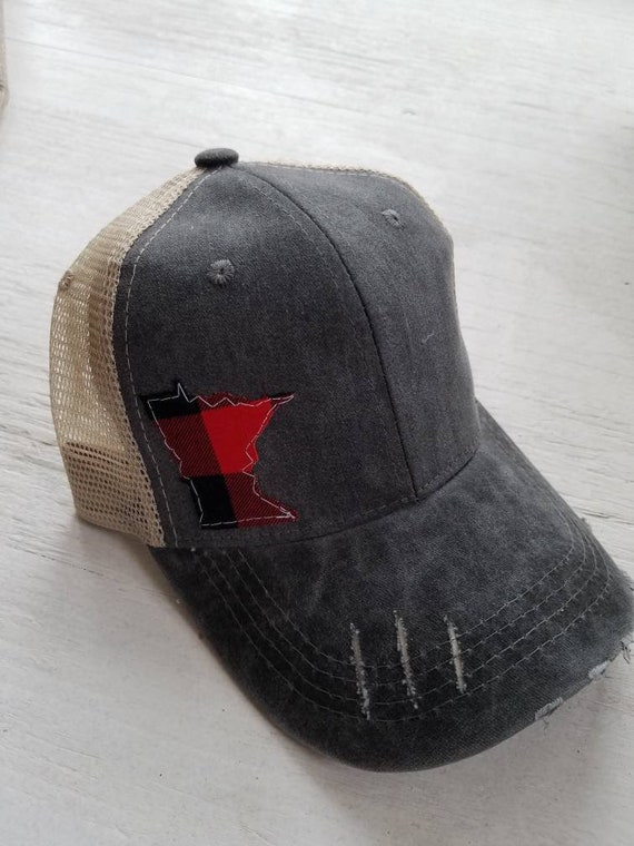 Minnesota Buffalo Plaid Hat| Minnesota Hat | Minnesota Trucker Hat | State Hat | Distressed Minnesota Trucker Hat | Red and Black Plaid |
