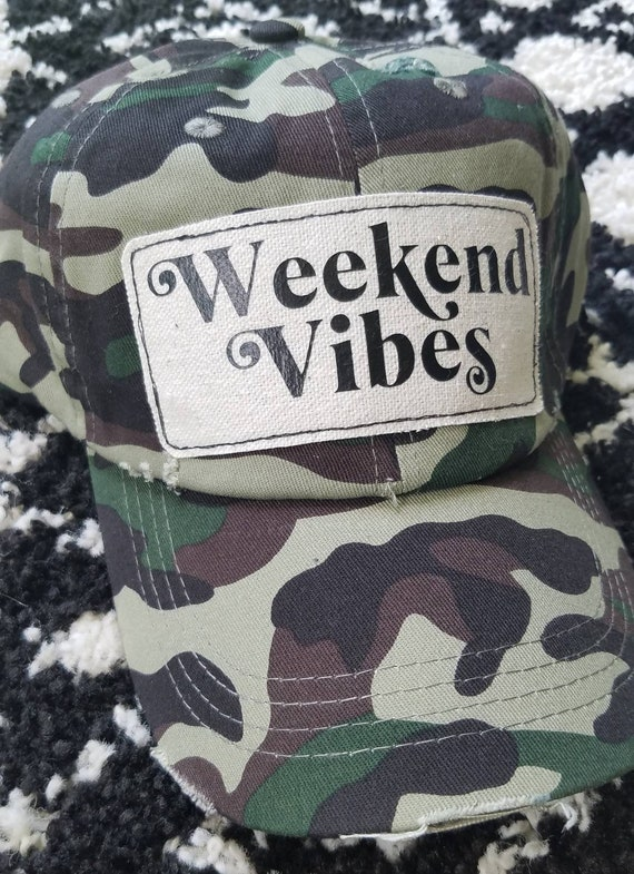 Weekend Vibes Hat | Weekend Baseball Hat |Trucker Hat | Inspirational Hat | Hat | Distressed Baseball Hat | Gift | Cute Hat | Camo Hat |