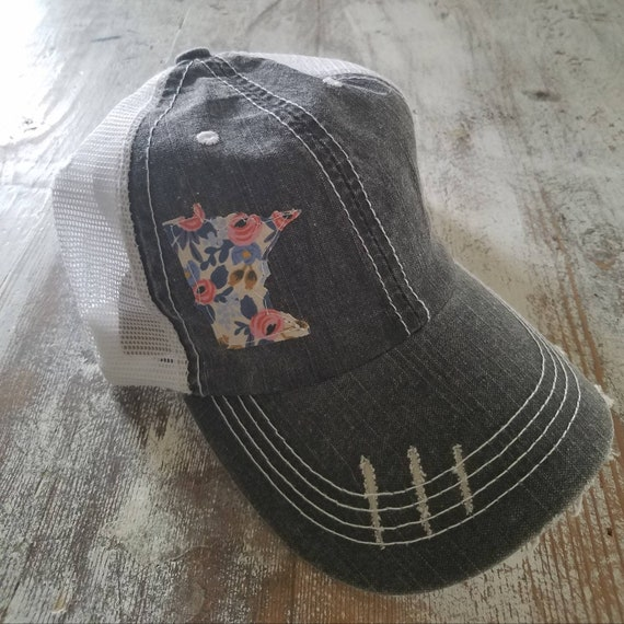 Minnesota Hat | Minnesota Trucker Hat | Minnesota Distressed Hat | Distressed Minnesota Trucker Hat | black hat w/ white mesh | floral