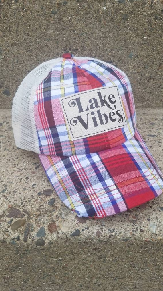 Lake Vibes Hat | Lake Vibes Trucker Hat |Trucker Hat | Inspirational Hat | Hat | Distressed Trucker Hat | Gift | Lake Life | Plaid Hat