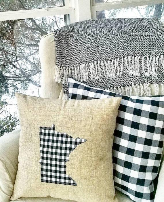 Minnesota Pillow   Buffalo Plaid   MN Pillow   Plaid Pillow