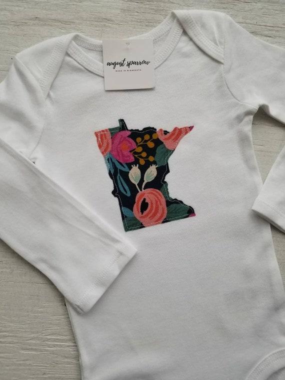 Minnesota Bodysuit | State Bodysuit | Minnesota Baby | Made in Minnesota | Baby Girl Bodysuit | Minnesota Love | Long Sleeve