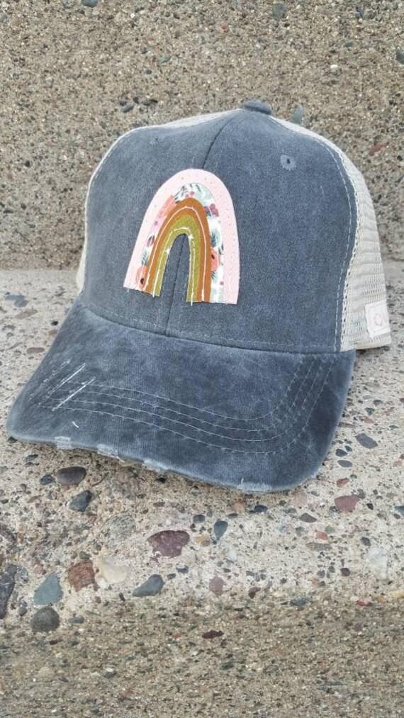 Rainbow Hat | Boho Trucker Hat | Over It Trucker Hat | Boho Rainbow| Distressed Trucker Hat | Gift | Cute Hat |
