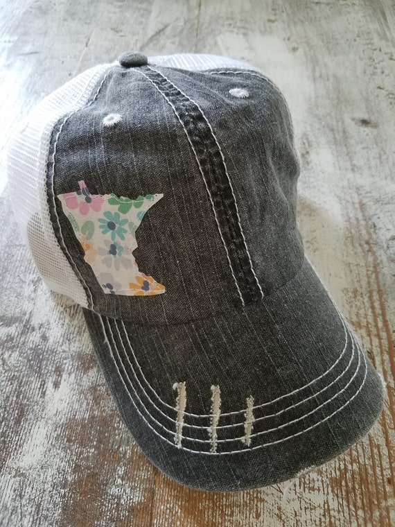 Minnesota Hat | Minnesota Trucker Hat | Minnesota Distressed Hat | Distressed Minnesota Trucker Hat | black hat w/ white mesh | Floral