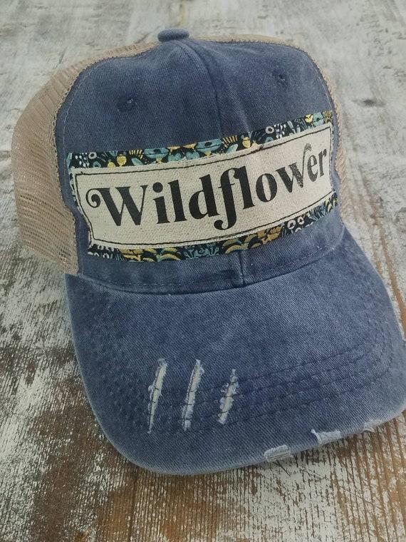 Wildflower Hat | Wildflower Trucker Hat |Trucker Hat | Inspirational Hat | Boho Hat | Distressed Trucker Hat | Gift | Birthday Gift |