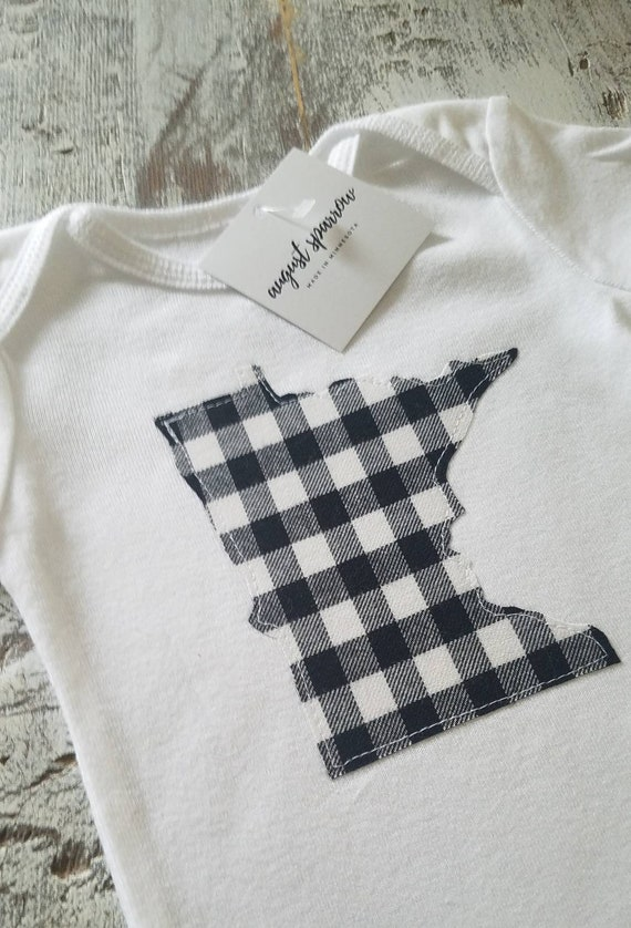 Minnesota Bodysuit | State Bodysuit | Minnesota Baby | Made in Minnesota | Bodysuit | Minnesota Love | Buffalo Plaid Baby | Plaid Bodysuit |