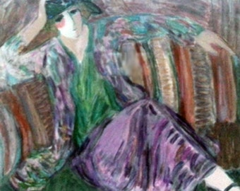 "BARBARA WOOD  ""Pensive Woman"" is a beautiful Seriolithograph with Certificate of Authenticity."